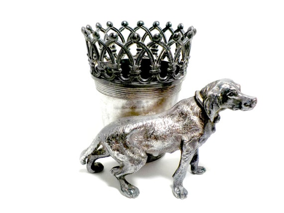 James W Tufts, Antique Match Holder 2692, Crown Filigree, Lab Retriever Dog, Silver Plate, Highly Collectible, Late 1800s