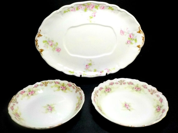 Limoges France, Orphan Limoges, Guerin, Elite Works, Two Small Bowls, One Gravy Boat Plate, Pink Roses, Gold Trim, Cottage Chic