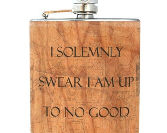 Marauder's map real wood flask Harry Potter flask wood gift