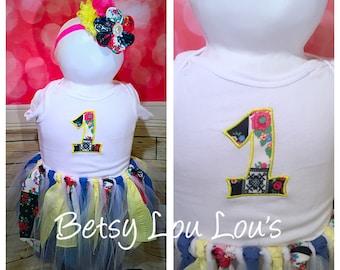 1st Birthday Tutu, Fabric TuTu, One year birthday outfit, First Birthday Tutu, Birthday set, Custom Embroidery