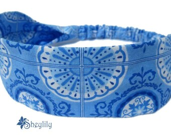 Blue Floral Headband for Ladies, Women or Teens by Sheylily