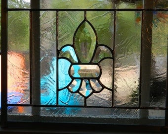 Stained Glass Panel beveled Fleur de Lis in Clear