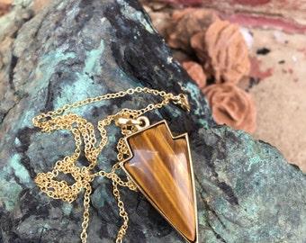 SALE* Tigers Eye Arrow Pendant Gold Nickel Free Necklace