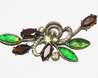 Joan Rivers Brooch - Green and Topaz Pin in Bronze - S1233