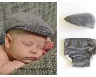 Newborn baby boy hats, coming home outfit, boy baby hat and diaper cover set, newborn photo prop, baby home coming outfit - made to order