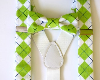 Baby boy suspenders and bow tie, lime green bowtie set, infant suspenders, boy baby wedding outfit, ring bearer outfit  - made to order