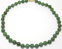 Estate Fine 10mm Natural Spinach Jade Beads 14K Clasp