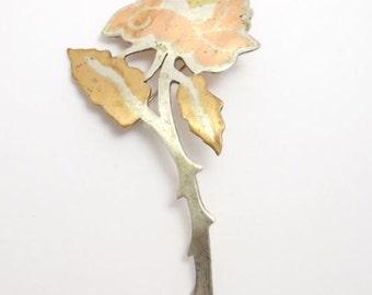 Metales Casados Mexican Silver Rose Brooch