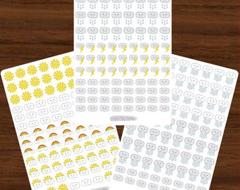 Weather Stickers Bundle - Rainy Day, Sunny Skies, and Snow Day Stickers, Weather Stickers, Weather Tracker, Weather Planner, Planner Sticker