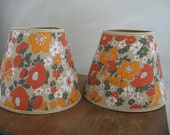 1970's Vintage Lampshades Set of 2 Brown Orange Green Beige