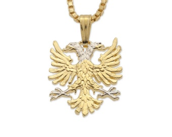 Albanian Eagle Pendant and Necklace, Albanian Jewelry, 14 Karat Gold and Rhodium Plated, ( # 929B )