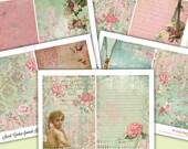 Printable Journal Kit - SECRET GARDEN - 5x7 Digital Paper Pack - Journal Inserts - Collage - Journaling - Scraps - Junk Journal Pink