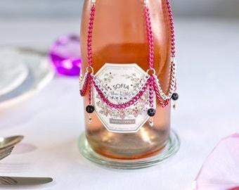 Hot pink wine bottle cover, chain booze bottle skirt, wine bottle dress, wine decor, barware, wine bottle cozy