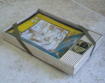 REDUCED Vintage New Mexico Houze Art Glass State Souvenir Tray Ashtray Dish in Box USA