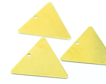 20 Pieces Raw Brass 25x25x25 mm Triangular Geometric 1 Hole Findings
