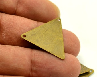 20 Pieces Antique Brass 25x25x25 mm Triangular Geometric  2 Hole Findings