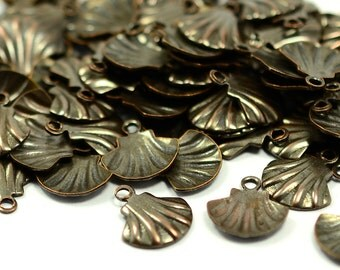 50  Pcs.  Antique Copper  9 x 10 mm Sea Shell Charms Findings