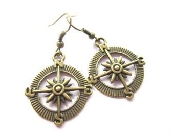 Compass earrings bronze tone earrings