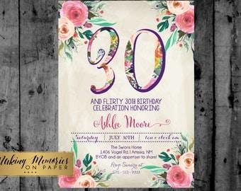 Woman Birthday Party Invitation, 30th, 40th, Watercolor, Flowers,Floral, Shower Invitation, Floral Invite, Flower Invite -  sfc