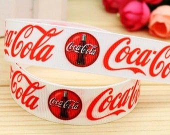 By the Yard 7/8 Inch Coke Grosgrain Ribbon Hair Bows Scrapbooking Lanyards Lisa