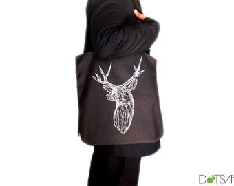 Stag Deer Trophy Head black Tote Bag