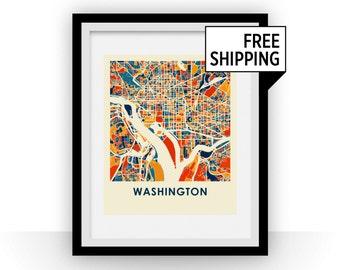 Washington Map Print - Full Color Map Poster