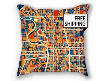 Wichita Map Pillow - Kansas Map Pillow 18x18