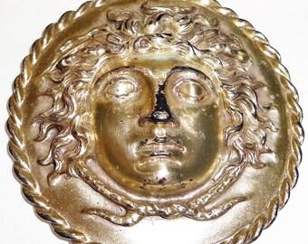 Alva Museum Replicas Large Pendant Silver Tone 1940 Molded Boys Face