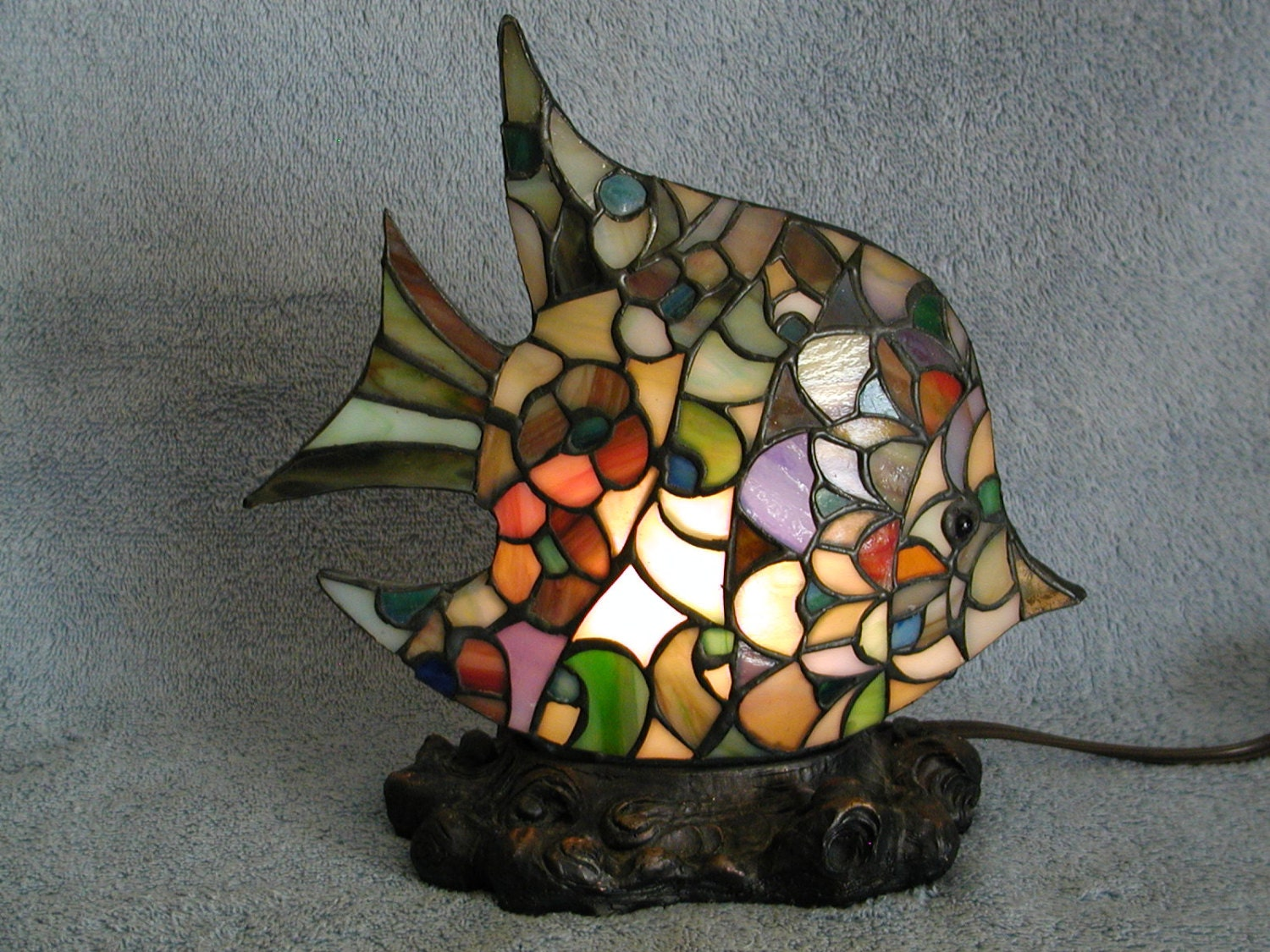 Accent lamp or nightlight stained glass fish for Stained glass fish