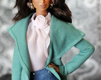 ELENPRIV Green ultrasuede cardigan for Fashion royalty FR2, Color Infusion, NuFace and similar body size dolls.