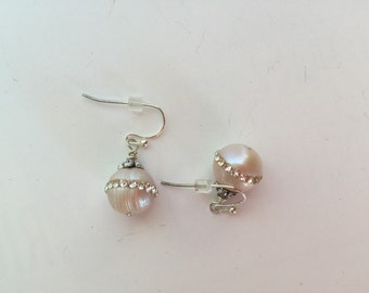 Pearl with rhinestone earrings creamy beige off white color.