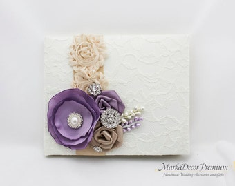 Wedding Lace Guest Book Custom Bridal Flower Brooch Guest Books in Ivory, Champagne, Lavender