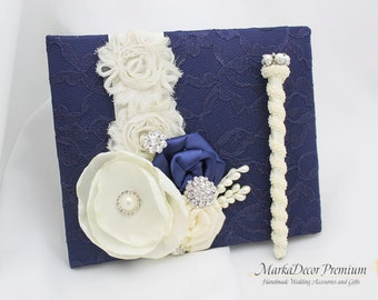 Wedding Lace Guest Book and a Pen Custom Bridal Flower Brooch Guest Books in Navy Blue and Ivory