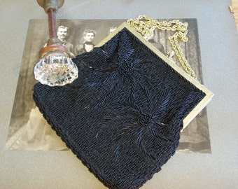 Vintage Magid Black Beaded Hand Bag, Vintage Purse