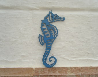 Hippocampus in carved and painted wood, silhouette