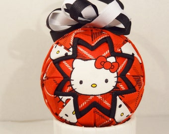 Hello Kitty Plaid Quilted Ornament Decorative Ball