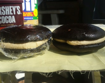 Homemade amish chocolate peanutbutter whoopie pies, gourmet whoopie pies, chocolate pie, decadent whoopie pies, gourmet baked goods 1 dozen