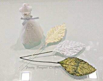 Golden Glitter Fabric Leaves|Silver Glitter Fabric Leaves|Green Glitter Fabric Leaves 55x30mm|Silver Leaves|Gold Leaves|Green Leaves