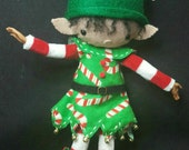 "Elf ""Louis Cuddleberry"" Posable 12"" Art Doll (tan skin tone) Holiday Helper Elf pure merino with Keepsake Giftbox"