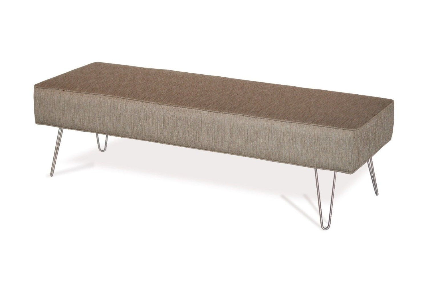 Mid Century Modern Fabric Upholstered Bench Ottoman Coffee Table