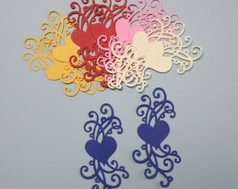 10 Flowering Hearts/Die Cuts/Embellishments/Paper Cuts/Scrapbooking/Card Making/Hearts