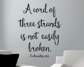 A Cord of Three Strands Wall Decal - Vinyl Lettering - Vinyl Wall Decal - Inspirational Scripture Decal - Trendy Font - Wedding