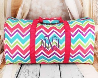 Monogrammed Duffel Bag Multicolor Chevron Personalized Gift