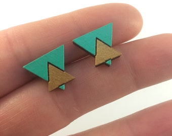 Stud Earrings Hand Pained Timber in Turquoise & Gold 15mm