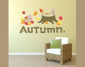 Fall Autumn Bunnies and Leaves Decal Room Vinyl Wall Decal Graphics Bedroom Home Decor