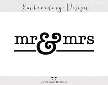 Mr and Mrs Four Sizes Embroidery Design for Newlyweds, Modern Wedding Design, Wedding Embroidery, Embroidery Design for Couples
