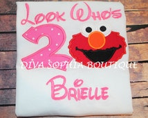 """Elmo Pink """"Look Who's"""" Personalized Bodysuit - T-shirt - Birthday"""