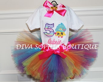 Shopkins Tutu Set - Birthday Tutu Set- Personaized Shopkins Set