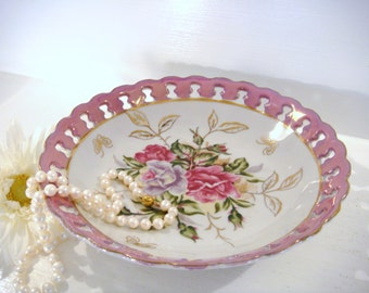 Trimont bowl, floral bowl, pierced lusterware dish, shabby chic decor, ring dish, jewelry holder, candy dish