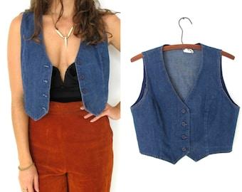SALE- 1970s western style denim vest